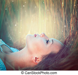 adolescent, nature, dehors, modèle, apprécier, girl