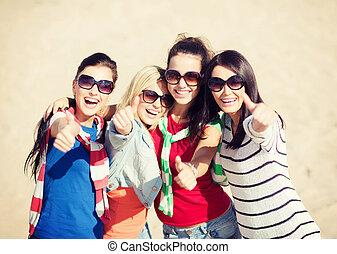 adolescent, projection, filles, haut, jeune, pouces, ou, femmes