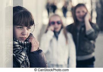 adolescent, rue ville, filles