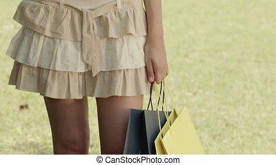 adolescent, sacs, achats, heureux