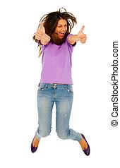 adolescent, sauter, haut, girl, pouces