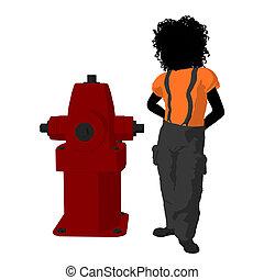 adolescent, silhouette, pompier, illustration, américain, africaine