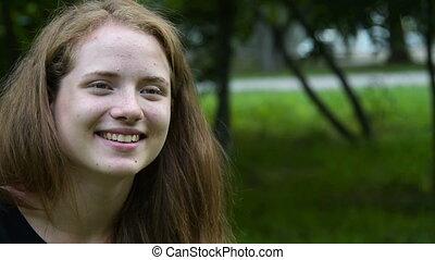 adolescent, sourire, appareil photo, retro, girl