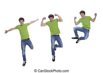 adolescent, sourire, sauter
