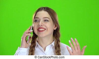 adolescent, téléphone, écran, vert, conversation