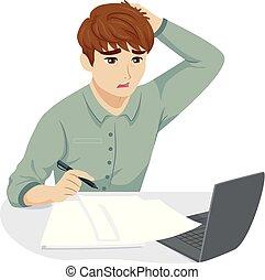 adolescent, type, fatigué, travail, accentué, illustration