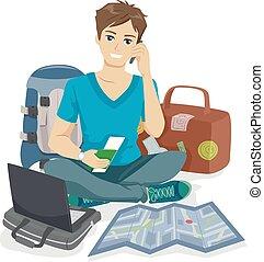 adolescent, type, voyageur, emballage