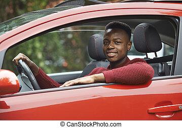 adolescent, voiture, chauffeur, regarder, fenêtre, mâle, dehors