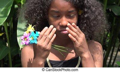 adolescente, africaine, pleurer, triste