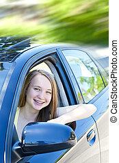 adolescente, apprentissage, conduire