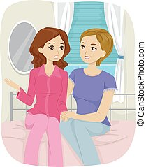 adolescente, maman, parler, chambre à coucher