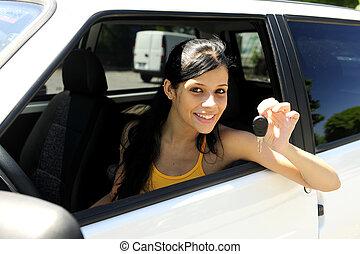 adolescente, nouveau, conduite, elle, voiture