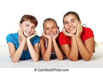 adolescentes, trois, ensemble