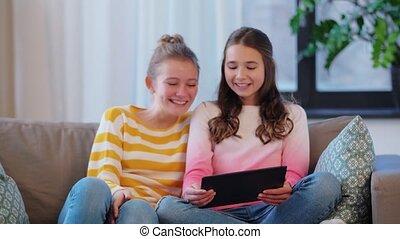 adolescentes, vidéo, pc, avoir, tablette, bavarder