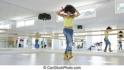 adorable, girl, danse, américain, studio, africaine