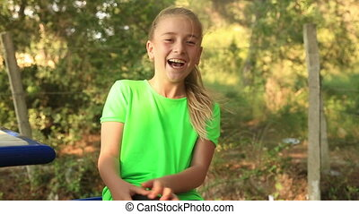 adorable, girl, jeune, rire