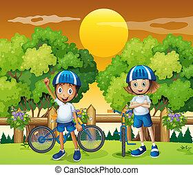 adorable, gosses, faire vélo, deux