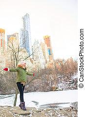 adorable, ville, nouveau, parc, central, girl, york
