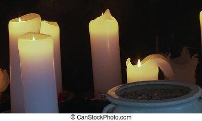 adoration, autel, corée, rempli, bougies