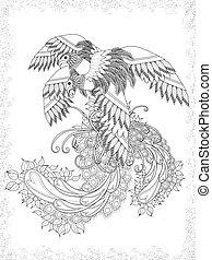 adulte, coloration, oiseaux, page