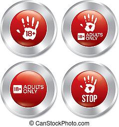 adultes, bouton, seulement, vecteur, limite, stickers., âge, set.