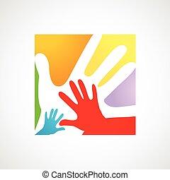 adultes, enfants, ensemble, mains