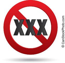 adultes, signe., xxx, button., contenu, seulement, vecteur