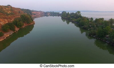 aerial:, sur, voler, lac