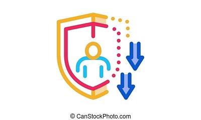 affaibli, immunity, animation, icône
