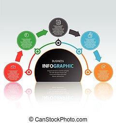 affaires enchaînement, icônes, commercialisation, conception, infographics