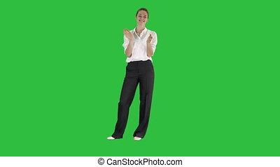 affaires femme, applaudir, chroma, écran, vert, key.