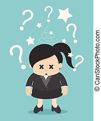 affaires femme, beaucoup, question, confondu, marqué, marque