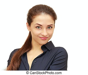 affaires femme, isolé, regarder, fond, sourire, blanc