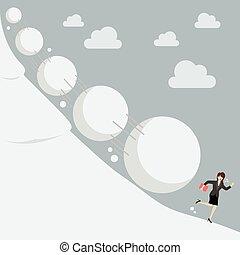 affaires femme, loin, courant, effet, boule de neige