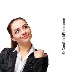 affaires femme, pensée, haut, isolé, regarder, sourire, blanc