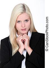 affaires femme, résultat, blonds, entrevue, attente