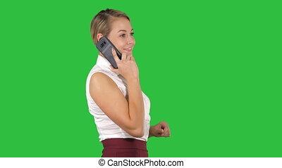 affaires femme, téléphone, mobile, chroma, écran, conversation, vert, key., professionnel, sourire