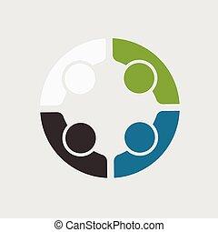affaires gens, 4, logo, réunion équipe