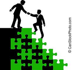 affaires gens, associé, trouvez solution, aide