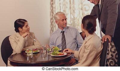 affaires gens, avoir, mee, déjeuner