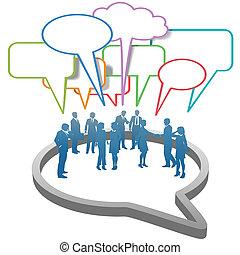 affaires gens, bulle, réseau, intérieur, social, parole
