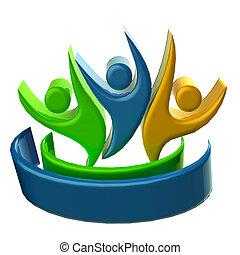 affaires gens, logo, icône, 3d
