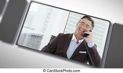affaires gens, téléphone, montage