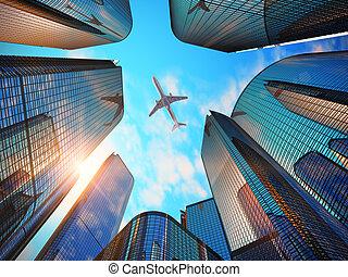 affaires modernes, district, gratte-ciel