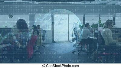 affaires numériques, information, gens, projection, interface, animation, fonctionnement, globe, bureau