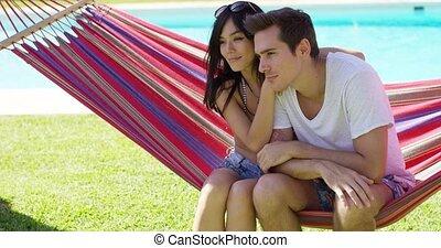 affectueux, couple, hamac, jeune, séance
