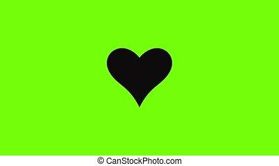 affectueux, icône, animation, coeur
