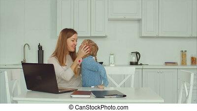 affectueux, liaison, cuisine, fille, mère