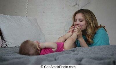 affectueux, nourrisson, enfant, liaison, mère
