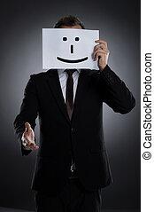 affiche, étirage, il, figure, mask., tenue, homme affaires, devant, sourire, sourire, distribuer